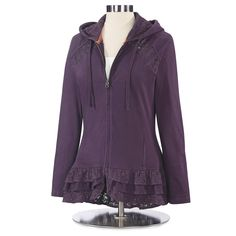 Ruffles & Lace Cotton Hoodie - Available at NorthStyle today! Shop Stylish & versatile styles in a wide range of colors. Ruffles, Work Attire Women, Cool Style, My Style, Fashion Boutique, What To Wear, Hoodies, Womens Fashion, Clothes
