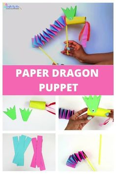 Paper dragon puppet craft for Chinese New Year with free printables