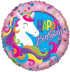"18"" Birthday Classic Unicorn Round Foil Balloon | Bargain Balloons - Mylar Balloons and Foil Balloons"