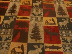 Custom Listing For Sharon Upholstery Fabric By The Yard Mountain Lodge Cabin Moose Deer One 58 Inches Wide