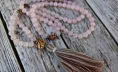 Long Tassel Necklace with Rose Quartz Beads and by NORDeastHOME