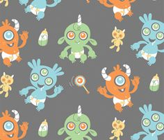 Baby Monster Fabric How Cute Imagine All The Crafts Nursery