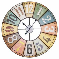 """Multicolor metal wall clock with a weathered finish.   Product: Wall clockConstruction Material: MetalColor: Multi  Features: Weathered finish Accommodates:  (2) AA Batteries - not included Dimensions: 23"""" Diameter"""