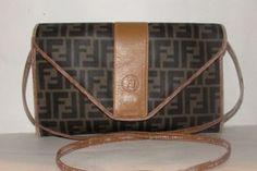 57eec5736bea Fendi Two Way Style  regimental  Line Excellent Vintage Cb Shoulder Clutch  Shoulder Bag