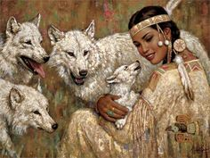 Living room home wall modern art decor poster wolves Native Americans girls cubs art painting EX178