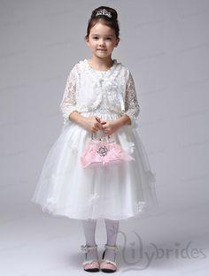 Princess Scoop Satin Organza Tea Length Beading Flower Girl Dress