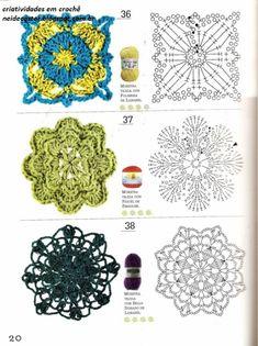 São muitos modelos com cores lisas, mescladas, e algumas bem coloridas, divirta-se com Arranjos Retrôs de Flores em Crochê, Como Fazer Com 40 Moldes