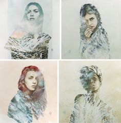 Water colour ,double exposures
