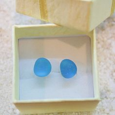So FUN! for your Eco Friendly Outdoor Princess Go Green Sea Glass Jewelry Turquoise Ociean Blue Sea glass stud earrings. $5.95