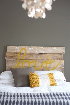 Must try this headboard! Yellow and grey master bedroom with distressed wood headboard. Not sold on the headboard but love the grey with pops of yellow for a master bedroom! House Tweaking, Home Projects, Interior, Cool Headboards, Home Decor, Bed Pillows, Home Diy, Diy Headboard, New Room