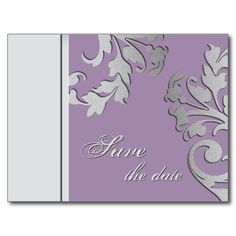 Save the Date Wedding Postcard Light Purple Silver