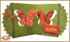 Karen Burniston using the Pop it Ups Butterfly Pivot Card, Butterfly Embossing Folder, Paris Edges, Katie Label Pivot Card (labels) by Karen Burniston for Elizabeth Craft Designs. Also uses ECD Alphabet Caps die.- AlohaButterflyPivot