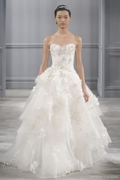 Monique Lhuillier Bijou Embroidered Lace Drop Waist Wedding Gown - Spring 2014 Collection - (weddinginspirasi)