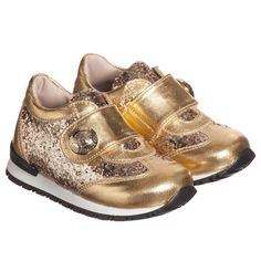 Young Versace Girls Gold Glitter Leather Trainers at Childrensalon.com