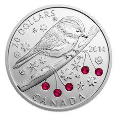 1 oz. Fine Silver Coin - Chickadee with Swarovski™ Winter Berry Elements - Mintage: 7,500 (2014)