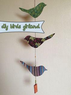 DIY – girlang med fåglar, steg-för-steg-beskrivning på fridasofia.se/blogg   paper birds girland, step by step description