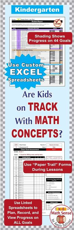 Grade 7 Common Core Math EXCEL Goal Tracker Spreadsheet with Paper - sign up sheet template excel