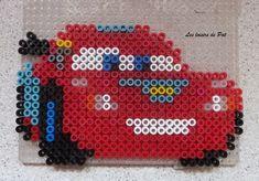Flash McQueen - Cars hama perler beads by Perler Beads, Fuse Beads, Hama Disney, Beaded Cross Stitch, Cross Stitch Patterns, Bead Crafts, Diy And Crafts, Flash Mcqueen, Art Perle