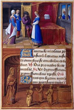 St. Nicholas: NIcholas Giving Gold to the Three Maidens | Border: Nicholas Resuscitating the Three Boys | Hours of Henry VIII, in Latin | Illuminated by Jean Poyer | France, Tours | ca. 1500 | The Morgan Library & Museum
