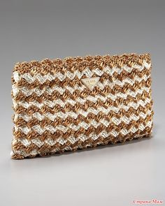 Raffia Zip Clutch Raffia Zip Clutch by Prada at Bergdorf Goodman.Raffia Zip Clutch by Prada at Bergdorf Goodman. Crochet Clutch Bags, Crochet Pouch, Crochet Handbags, Crochet Purses, Filet Crochet, Knit Crochet, Clutch Purse, Crochet Bags, Crochet Shell Stitch