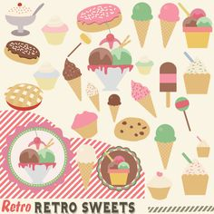 Retro Sweets Clipart, Clipart, 50s sweet Shop, Lolly Clip Art, Instant download…
