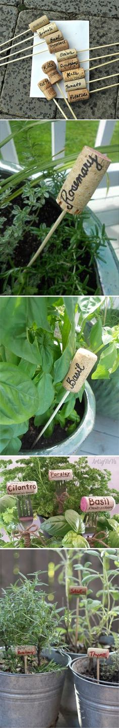 Wine Corks - Recyclez vos bouchons de liège pour indiquer vos plantations d'herbes aromatiques ! #DIY #jardin #liege #bouchon