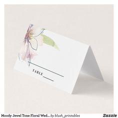Shop Moody Jewel Tone Floral Wedding Escort Card created by blush_printables. Wedding Reception Decorations, Wedding Table, Fall Wedding, Wedding Places, Wedding Place Cards, Jewel Tone Wedding, Floral Wedding, Watercolor Wedding, Floral Watercolor