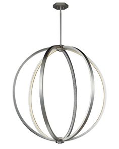 The Khloe globe pendant by @feissmontecarlo features alternating LEDs and inlaid crystals along the underside of its arcs, creating enchanting light play within its sleek Satin Nickel-finished frame.