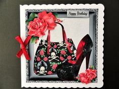 Beautiful Black &amp Red Handbag With Shoe 8x8 by Valerie Spowart
