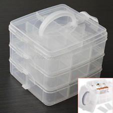3 Tier Plastic Craft Beads Jewellery Storage Organiser Compartment Grid Box Case & 20ml-Small-plastic-storage-jar-container-tub-pot-sample-craft-10-20 ...
