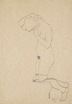 Egon Schiele (Austrian, 1890-1918), Kniender weiblicher Akt mit Strümpfen [Kneeling female nude with stockings], 1909. Black crayon on paper, 44 x 31 cm.