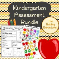 Kindergarten Assessment Bundle includes: Letter Identification First letter sounds Rhyming Number identification Patterns Shapes Colors