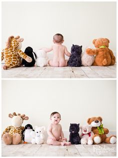 Baby with stuffed animals photo idea - pin found by Freebies-For-Baby.com