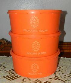 Items similar to 3 Vintage Tupperware Stacking Orange Canister Set Retro Kitchen Storage on Etsy Tupperware Canisters, Vintage Tupperware, Biscuit Mix, Canister Sets, Kitchen Storage, Coffee Cans, Nostalgia, Orange, Retro