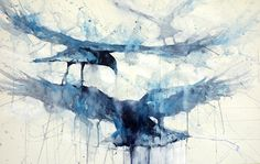 3 crows by Sarah Yeoman Watercolor ~ 26 x 36