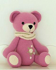 teddy bear with embroidery #crochetbear