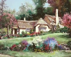 With her passion for beauty, color and style, American painter Marty Bell was a prolific and influential artist. Her work has been internationally collected and she enjoyed the respect of both her peers and fine art collectors. Thomas Kinkade, Belle Image Nature, Bell Art, Creation Photo, Rural House, Images Vintage, Storybook Cottage, House Landscape, Colorful Paintings