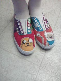 I bought some white Vans and made an Adventure Time themed pair of shoes for my sister.