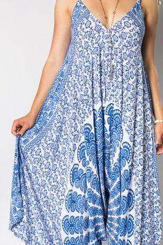 Wide Leg Womens Gypsy Long Jumpsuit Dress in Blue Peacock,Summer Resort Beach Swimsuit Coverup, Playsuit, Made from Bali Sarongs XS-L
