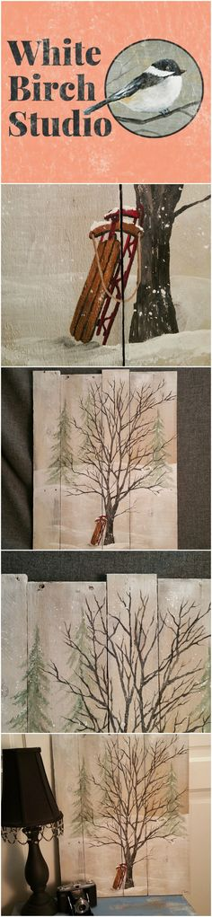 This white washed piece would be a great, personal touch to your winter decor. It is hand painted and has falling snow for a soft, winter appearance.  Dimensions are 18 1/2 inches wide x 23 1/2 inches high
