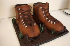 Hiking Boots Grooms Cake - The Sugar Suite