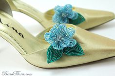 Tiffany -shoe clips, French beaded flowers - shoe bling for brides, bridesmaids, flower girls-- member of the artisan group