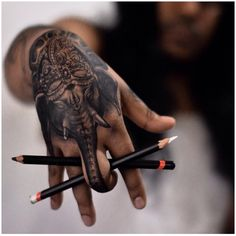 90 ganesh tattoo designs for men - hindu ink ideas Elephant Tattoo On Hand, Elephant Tattoo Meaning, Elephant Tattoo Design, Tribal Elephant, Elephant Trunk, Indian Elephant Tattoos, War Elephant, Hand Tattoos, Finger Tattoos