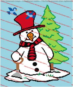 Snowman With Shovel and Blue Birds Crochet Graph by KarlasCreationsGraph on Etsy