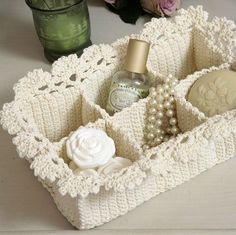 Crochet Parfait: Lace Spa Basket Knitting For BeginnersKnitting For KidsCrochet BlanketCrochet Scarf Crochet Home, Love Crochet, Crochet Gifts, Crochet Yarn, Crocheted Lace, Beautiful Crochet, Pinterest Crochet, Spa Basket, Basket Ideas