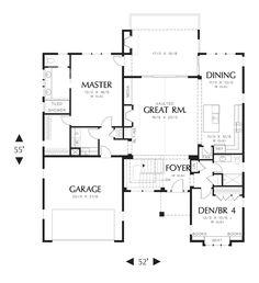 Main Floor Plan of Mascord Plan 1236 - The Linden - Traditional Design, Contemporary Elegance