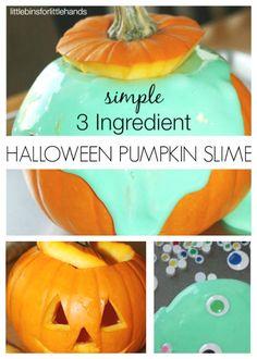 Pumpkin Easy Slime for Halloween Fall Sensory Play Science Activity