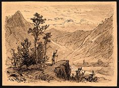 Antique Drawing-MOUNTAINOUS LANDSCAPE-TRAVELLER-Monogrammist HB-1845 -- Awesome products selected by Anna Churchill