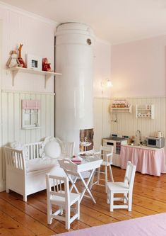 TEA TIME - corner play area for the kids' bedroom. Love this idea.