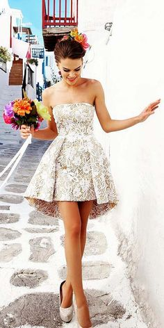 cute strapless lace prom dress, short hi-lo party dress